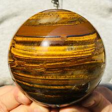939g Large Natural Gold Tiger's Eye Quartz Crystal Sphere Ball Healing Mineral