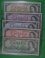 Five 1954  Bank Of Canada Bills -  $1  $2  $5  $10  $20     Well Above Average