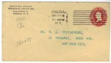 1916 Oneida NY Entire Stationery Cover Columbia 8 bar Machine Cancel U412 Amber