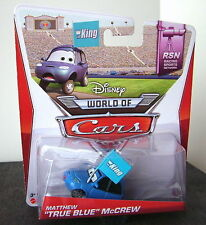 Disney PixarCars RSN Collection MATTHEW TRUE BLUE McCREW with THE  KING Flag