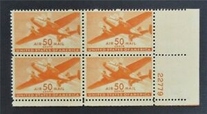 nystamps US Air Mail Plate Block Stamp # C31 Mint OG H P# Block Of 4   S17y934
