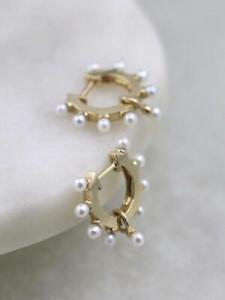 White Pearl Studded Solid 14 Karat Yellow Gold Hoop Earrings Fine Earrings Gems