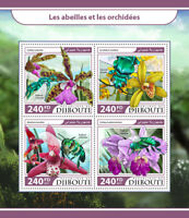 Djibouti 2017 MNH Bees & Orchids 4v M/S Cattleya Orchid Bee Flowers Stamps