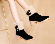 Women's Fashion Round Toes Block Heels Ankle Boots Lady Winter Casual Shoes