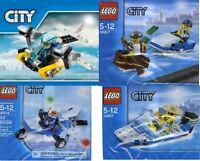 4xLego City Polizei 30227 Jetski Verfolger 30346 Copter 30018 Flieger 30017 Boot