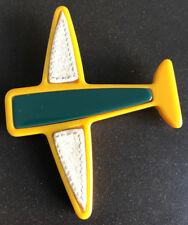 PRADA Brosche Anstecknadel Flugzeug mit Intarsien, Designer Modeschmuck