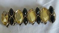"7""BLACK PALE YELLOW FAUX RHINESTONE 1.25""WIDE STRETCH BRACELET,UNSIGNED,ACRYLIC"