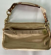 Coach Gold Nylon Satin Handbag Leather Suede Logo Shoulder Bag Small Purse Mini