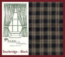 PARK DESIGNS Set of 2 Curtain Panels Country Black Gold Tartan Plaid 49L X 35W