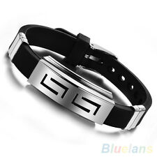 HOT MEN BLACK SILVER RUBBER STAINLESS STEEL WRISTBAND CLASP CUFF BANGLE BRACELET