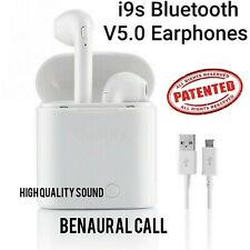 Original i9s Wireless Bluetooth Earphones Headphones Earbuds with Mic White
