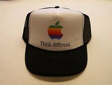 Apple Computer Rainbow Logo Think Different Hat - BLACK