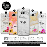 Personalised Marble stone Flower Gel phone case Name Initials for Samsung BB4