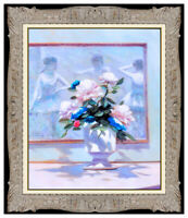 Andre Gisson Original Oil Painting On Canvas Signed Framed Floral Still Life Art