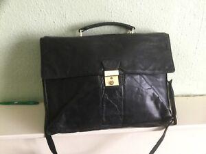 Alamis black leather briefcase multi compartment work school laptop bag