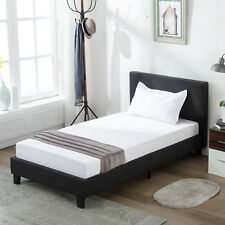 Twin Size Platform Bed Frame Upholstered Gray Linen Headboard with Wood Slats