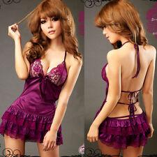 Women Sexy Lingerie Black Lace Dress G-string Underwear Babydoll Sleepwear Sets