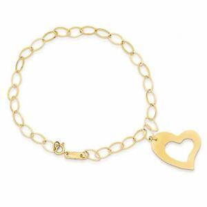 "14K Yellow Gold Dangle Heart 4 MM Bracelet, 7.25"" MSRP $173"