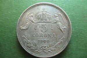1909 KB Hungary 5 Korona  KM#488  .900 SILVER