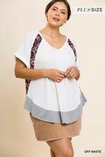 Umgee Paisley Print Detail V-Neck Waffle Knit Top Plus Size Size 1X