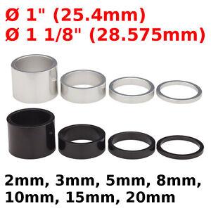 """Bike Headset Spacers 1"""" 1 1/8"""" 2 3 5 8 10 15 20 mm black white washer 25.4 28.6"""