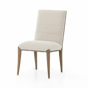 "36"" H Cream Linen Modern Dining Chair Polyester Fabric Tapered Wood Button Trim"