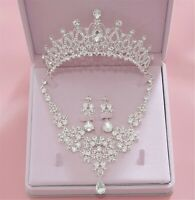 Women White Crystal Silver Party Prom Hair Headband Crown Tiara Necklace Earring