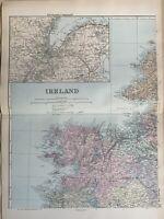 1891 Northwest Ireland Hand Coloured Original Antique Map by G.W. Bacon