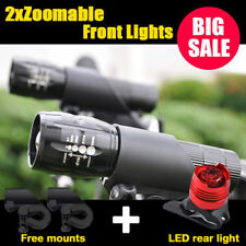 2x CREE LED Q5 Mountain Bike Bicycle Front Lights + Aluminum Rear Light AU Stock