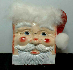 Santa Claus Face Ceramic Bag with Glasses Hand Painted Signed on bottom RARE