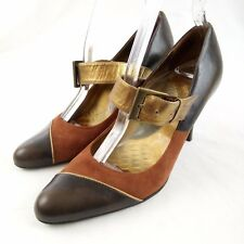 Gianni Bini Mary Jane Brown Two Toned Leather Heels Size 7