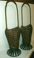 """2 WICKER AND METAL FLORAL BASKETS, HANDLES, 20"""" TALL"""