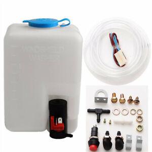 Universal Car Windshield Washer with 12V Reservoir Pump Bottle Hose Jets Set Kit