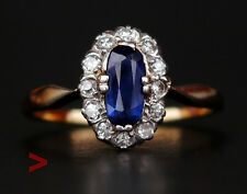 Antique Halo Ring solid 14K Gold Sapphire Diamonds  Ø 7.25 US/ 2.5gr