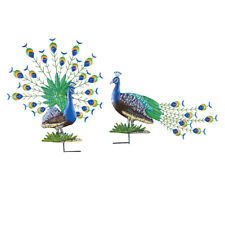 Collections Etc Peacock Garden Stakes - Set of 2