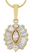 Beautiful Clear Austrian Crystal Gold Plated Cluster Style Pendant