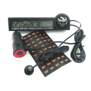 Car Guide Ball Thermometer Voltmeter LED Backlit Electronic Clock Stop Universal