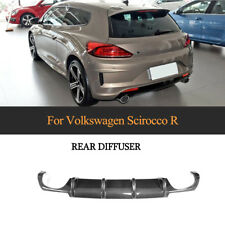 Rear Bumper Diffuser Spoiler Quad For Volkswagen Scirocco R 15-18 Carbon Fiber