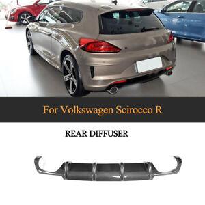 Carbon Fiber Rear Diffuser Spoiler Quad For Volkswagen Scirocco R Bumper 2015-18