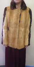 Vintage Genuine Light & Dark Brown European Mink Fur coat Jacket M UK 12 Euro 40