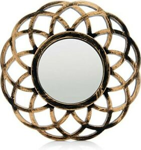 Gold Bronze Distressed Round Wall Mirror Decor wall accent home decor modern