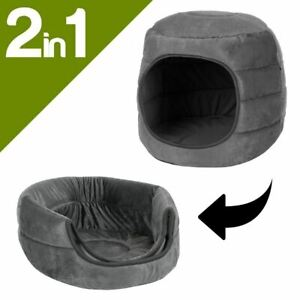 2-in-1 Cat Cave and Bed Small Dog Igloo Bed - Grey Velvet Pet Hideout