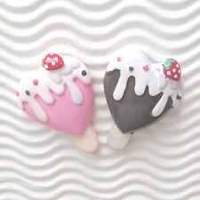 "US SELLER - 10 pcs x (1 3/8"") Resin Ice Cream Bar/Heart Flatback Beads SB532"