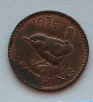 1938 British Farthing Coin. Quarter Penny. George VI. (B19)