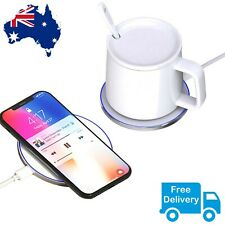 Self Heating Porcelain Cup Temperature Control Mug Hot Coffee Tea Drink Qi Pad