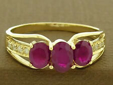 R245  Genuine 9ct Solid Yellow Gold NATURAL Ruby & DIAMOND Trilogy Ring size N