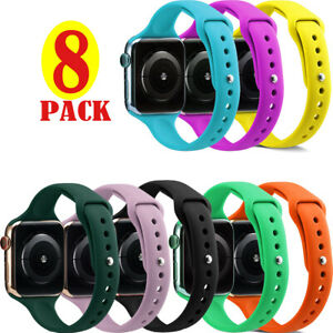 8PCS Slim Silicone Watch Band Replacement Belt For Apple Watch Series 6 5 4 3 2