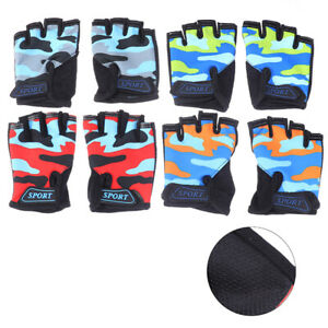 2x Kids Childrens Half Finger Glove Fingerless Gloves For Cycling Bicycle Mi.AU