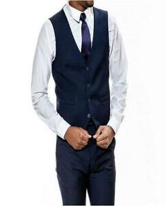 Sean Alexander Men's Stretch Ultra Slim Fit Suit Vest (Blue, Size 46L)