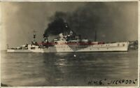 Shipping Naval Battleship HMS Liverpool Real Photo Vintage Postcard  1.12